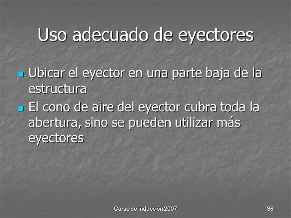 Curso de inducción 200736 Uso adecuado de eyectores Ubicar el eyector en una parte baja de la estructura Ubicar el eyector en una parte baja de la estructura El cono de aire del eyector cubra toda la abertura, sino se pueden utilizar más eyectores El cono de aire del eyector cubra toda la abertura, sino se pueden utilizar más eyectores