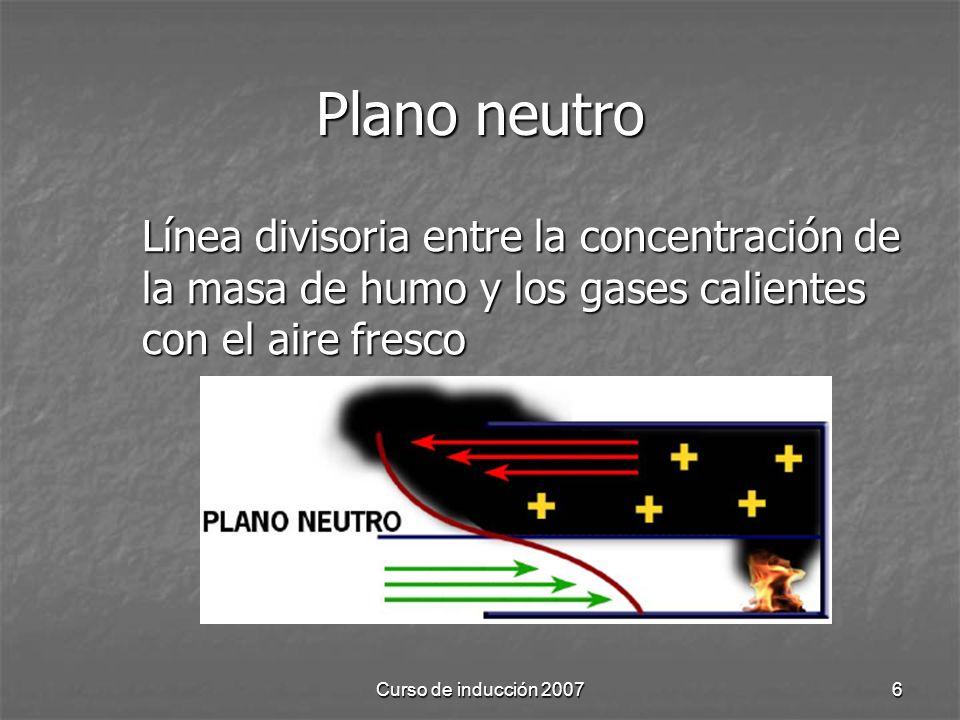 Curso de inducción 20076 Plano neutro Línea divisoria entre la concentración de la masa de humo y los gases calientes con el aire fresco