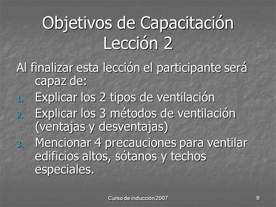 Curso de inducción 20079 Objetivos de Capacitación Lección 2 Al finalizar esta lección el participante será capaz de: 1.