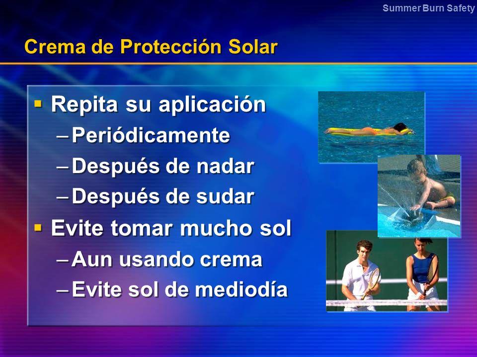 Summer Burn Safety Crema de Protección Solar Repita su aplicación –Periódicamente –Después de nadar –Después de sudar Evite tomar mucho sol –Aun usand