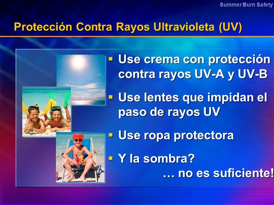 Summer Burn Safety Protección Contra Rayos Ultravioleta (UV) Use crema con protección contra rayos UV-A y UV-B Use lentes que impidan el paso de rayos UV Use ropa protectora Y la sombra.