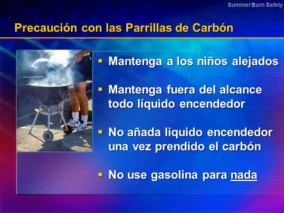 Summer Burn Safety Precaución con las Parrillas de Carbón Mantenga a los niños alejados Mantenga fuera del alcance todo líquido encendedor No añada li