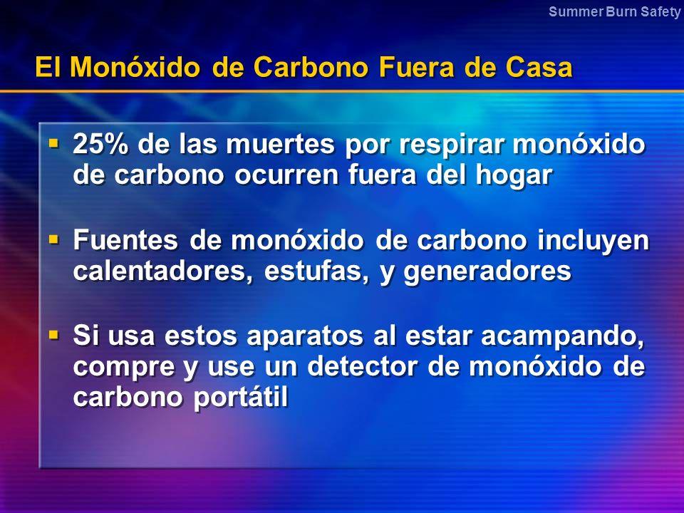 Summer Burn Safety El Monóxido de Carbono Fuera de Casa 25% de las muertes por respirar monóxido de carbono ocurren fuera del hogar Fuentes de monóxido de carbono incluyen calentadores, estufas, y generadores Si usa estos aparatos al estar acampando, compre y use un detector de monóxido de carbono portátil 25% de las muertes por respirar monóxido de carbono ocurren fuera del hogar Fuentes de monóxido de carbono incluyen calentadores, estufas, y generadores Si usa estos aparatos al estar acampando, compre y use un detector de monóxido de carbono portátil