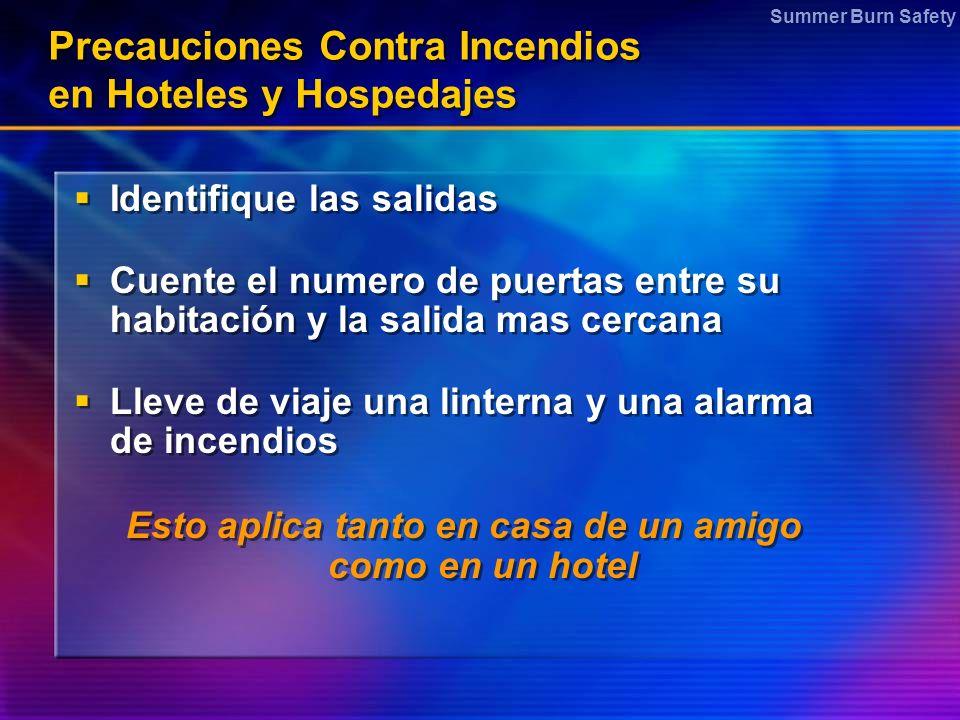 Summer Burn Safety Precauciones Contra Incendios en Hoteles y Hospedajes Identifique las salidas Cuente el numero de puertas entre su habitación y la