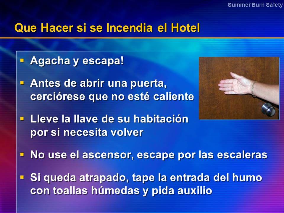 Summer Burn Safety Que Hacer si se Incendia el Hotel Agacha y escapa! Antes de abrir una puerta, cerciórese que no esté caliente Lleve la llave de su