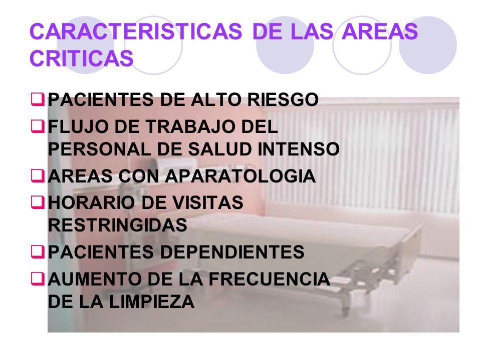 CARACTERISTICAS DE LAS AREAS CRITICAS PACIENTES DE ALTO RIESGO FLUJO DE TRABAJO DEL PERSONAL DE SALUD INTENSO AREAS CON APARATOLOGIA HORARIO DE VISITA