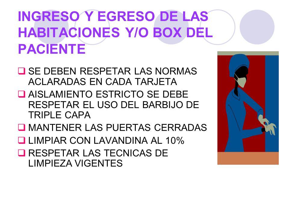 INGRESO Y EGRESO DE LAS HABITACIONES Y/O BOX DEL PACIENTE SE DEBEN RESPETAR LAS NORMAS ACLARADAS EN CADA TARJETA AISLAMIENTO ESTRICTO SE DEBE RESPETAR