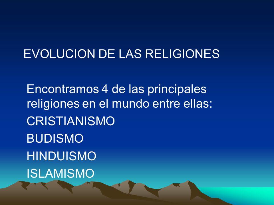 EVOLUCION DE LAS RELIGIONES Encontramos 4 de las principales religiones en el mundo entre ellas: CRISTIANISMO BUDISMO HINDUISMO ISLAMISMO