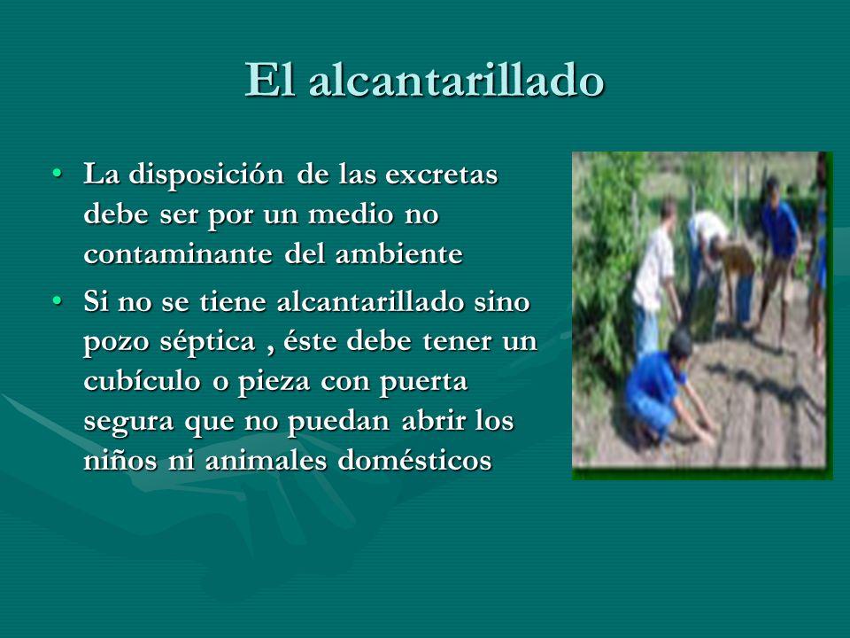 El alcantarillado La disposición de las excretas debe ser por un medio no contaminante del ambienteLa disposición de las excretas debe ser por un medi