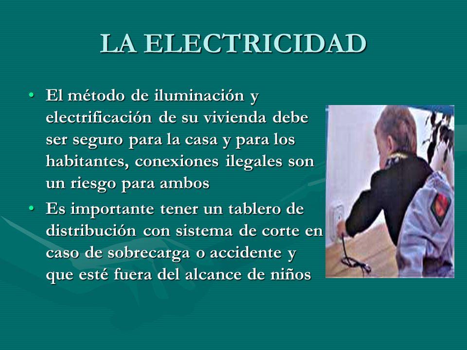 LA ELECTRICIDAD El método de iluminación y electrificación de su vivienda debe ser seguro para la casa y para los habitantes, conexiones ilegales son