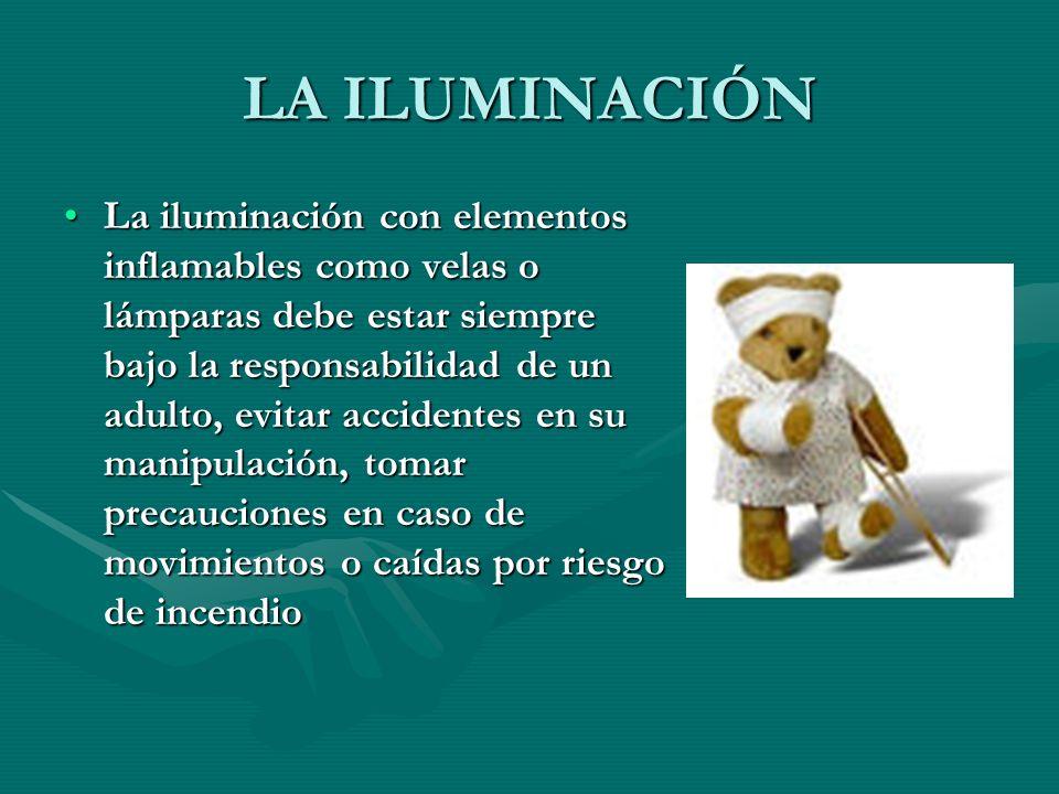 LA ILUMINACIÓN La iluminación con elementos inflamables como velas o lámparas debe estar siempre bajo la responsabilidad de un adulto, evitar accident