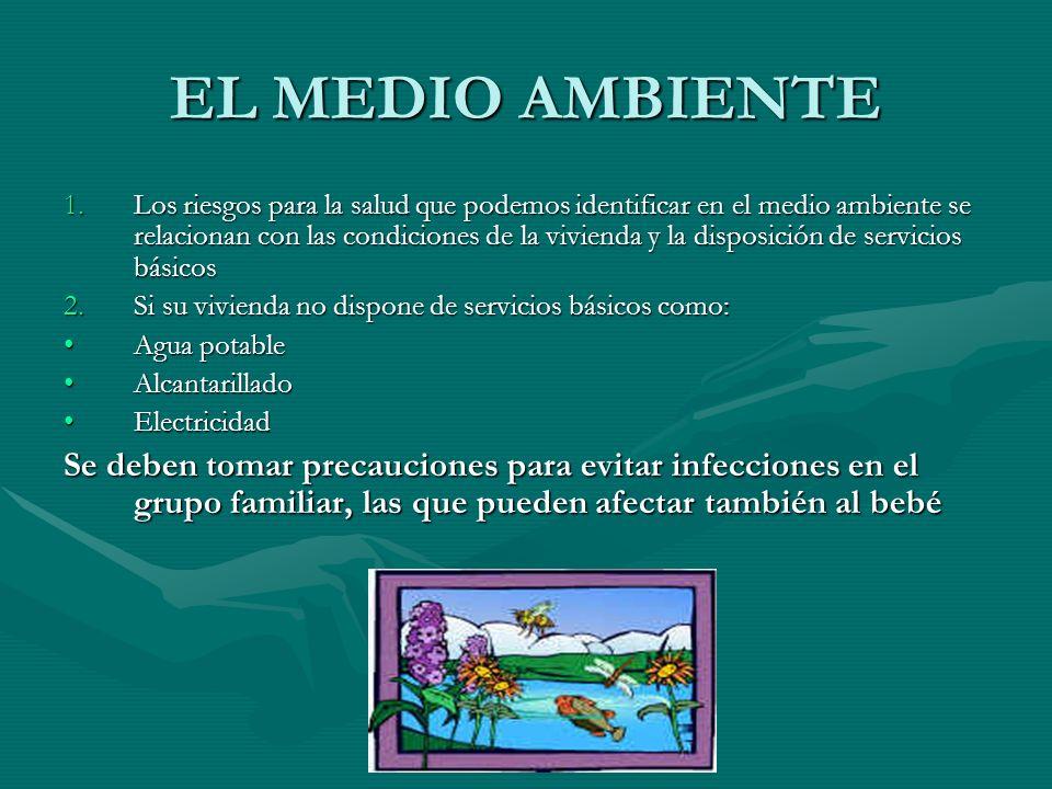 EL MEDIO AMBIENTE 1.Los riesgos para la salud que podemos identificar en el medio ambiente se relacionan con las condiciones de la vivienda y la dispo