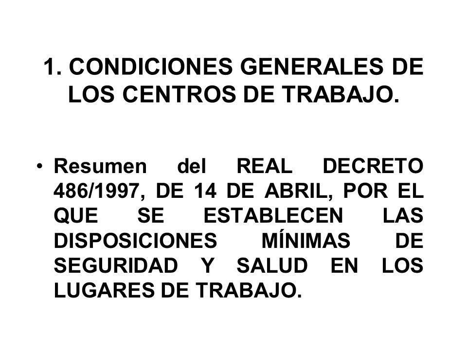 1. CONDICIONES GENERALES DE LOS CENTROS DE TRABAJO. Resumen del REAL DECRETO 486/1997, DE 14 DE ABRIL, POR EL QUE SE ESTABLECEN LAS DISPOSICIONES MÍNI