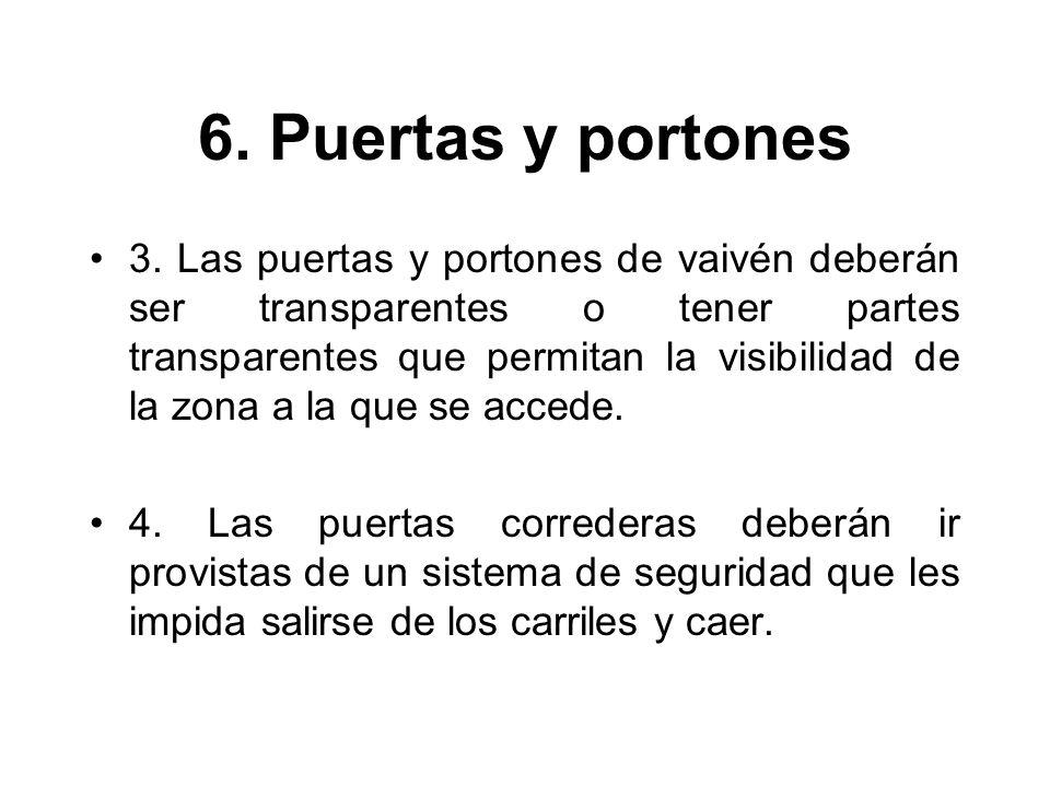 6. Puertas y portones 3. Las puertas y portones de vaivén deberán ser transparentes o tener partes transparentes que permitan la visibilidad de la zon