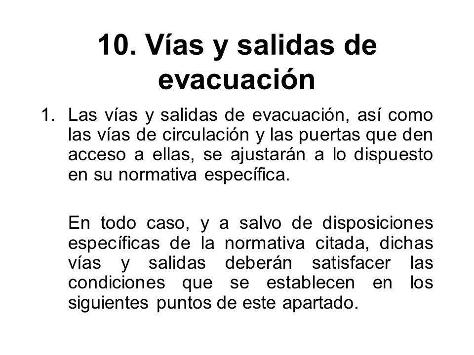 10. Vías y salidas de evacuación 1.Las vías y salidas de evacuación, así como las vías de circulación y las puertas que den acceso a ellas, se ajustar