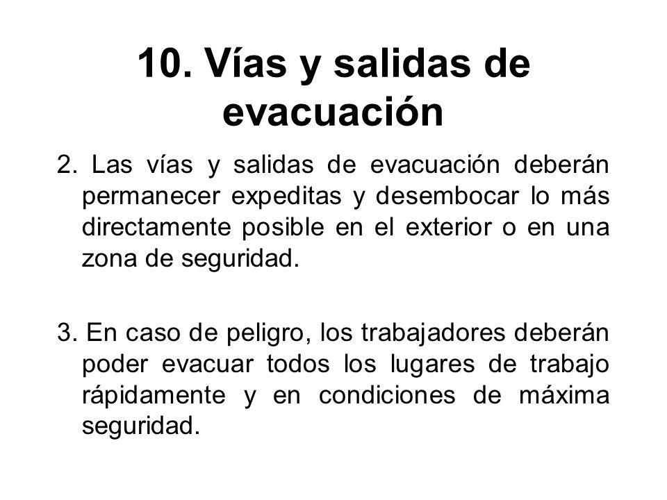 10. Vías y salidas de evacuación 2. Las vías y salidas de evacuación deberán permanecer expeditas y desembocar lo más directamente posible en el exter