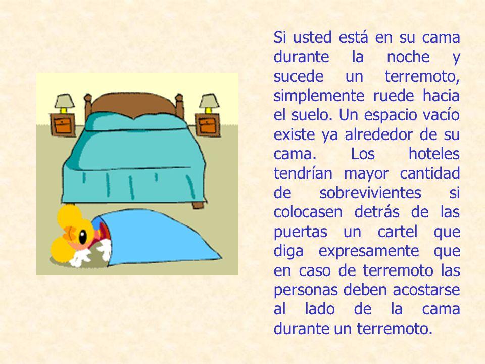 Si usted está en su cama durante la noche y sucede un terremoto, simplemente ruede hacia el suelo.