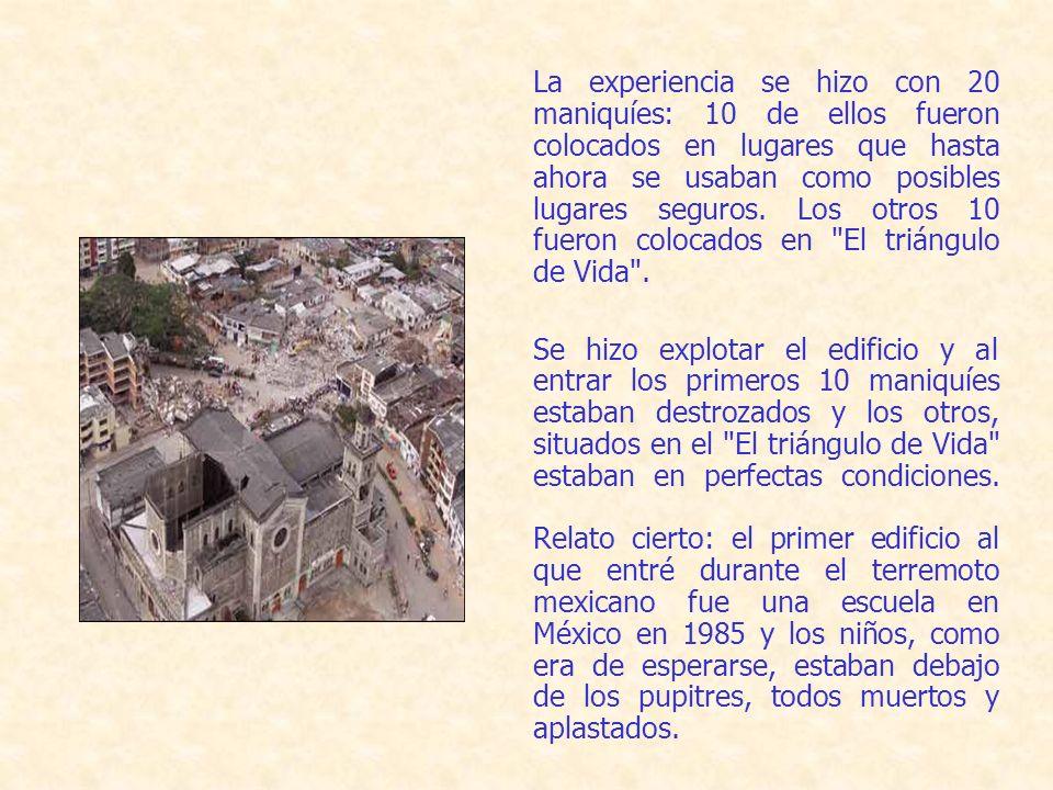 La experiencia se hizo con 20 maniquíes: 10 de ellos fueron colocados en lugares que hasta ahora se usaban como posibles lugares seguros.