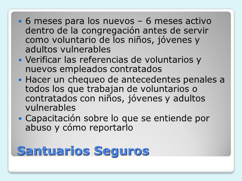 Santuarios Seguros 6 meses para los nuevos – 6 meses activo dentro de la congregación antes de servir como voluntario de los niños, jóvenes y adultos