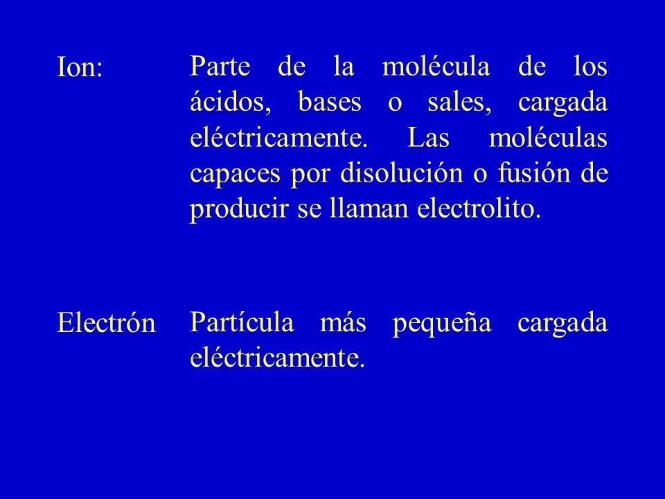 Ion: Electrón Parte de la molécula de los ácidos, bases o sales, cargada eléctricamente. Las moléculas capaces por disolución o fusión de producir se