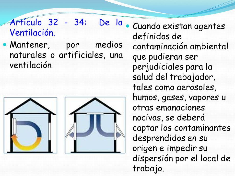 Artículo 32 - 34: De la Ventilación. Mantener, por medios naturales o artificiales, una ventilación Cuando existan agentes definidos de contaminación