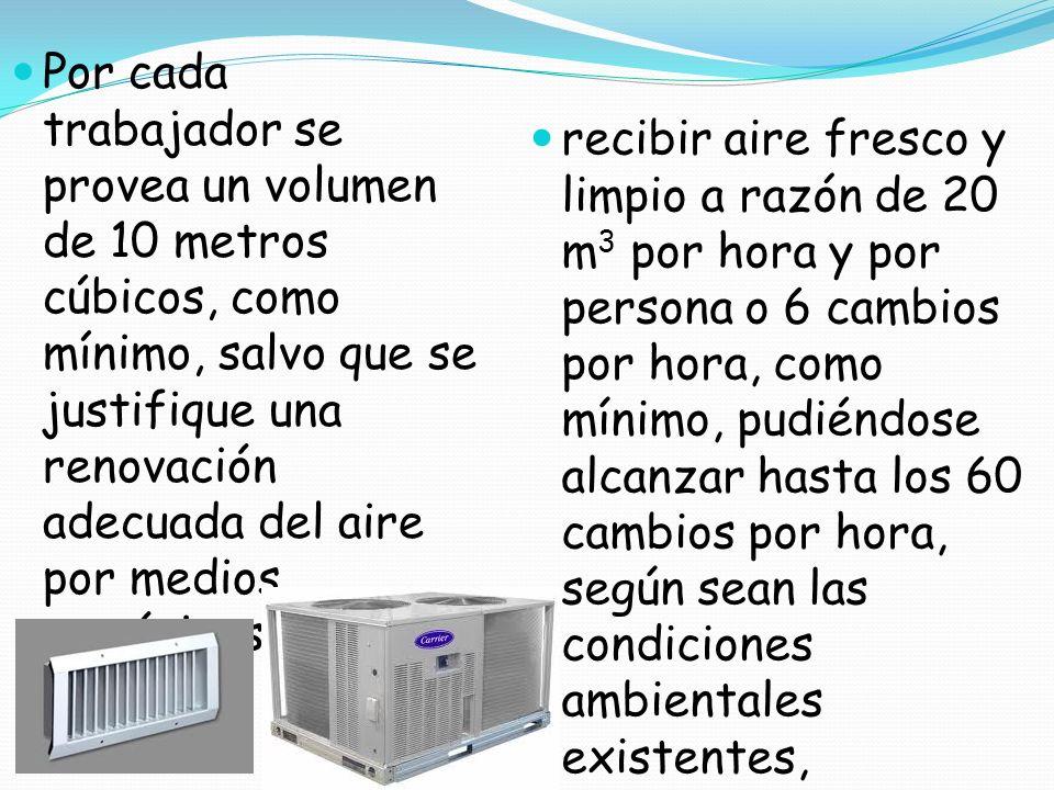 Por cada trabajador se provea un volumen de 10 metros cúbicos, como mínimo, salvo que se justifique una renovación adecuada del aire por medios mecáni