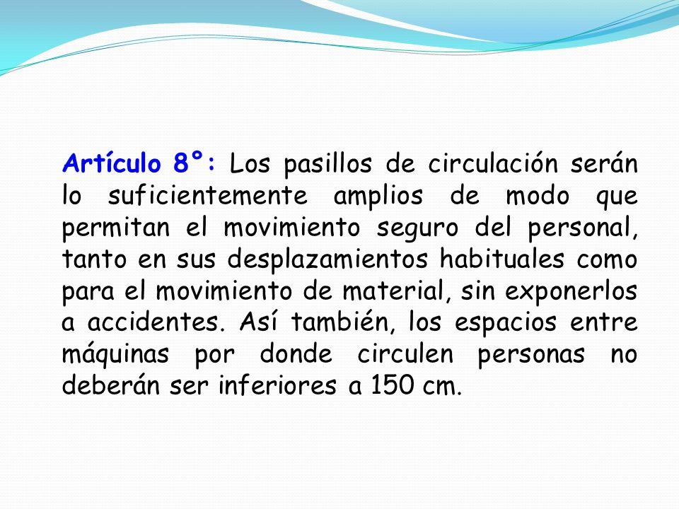 Artículo 8°: Los pasillos de circulación serán lo suficientemente amplios de modo que permitan el movimiento seguro del personal, tanto en sus desplaz