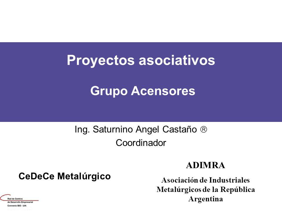 Proyectos asociativos Grupo Acensores Ing. Saturnino Angel Castaño Coordinador CeDeCe Metalúrgico ADIMRA Asociación de Industriales Metalúrgicos de la