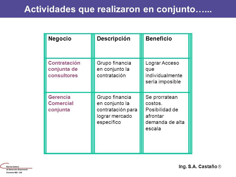 Actividades que realizaron en conjunto…... NegocioDescripciónBeneficio Contratación conjunta de consultores Grupo financia en conjunto la contratación