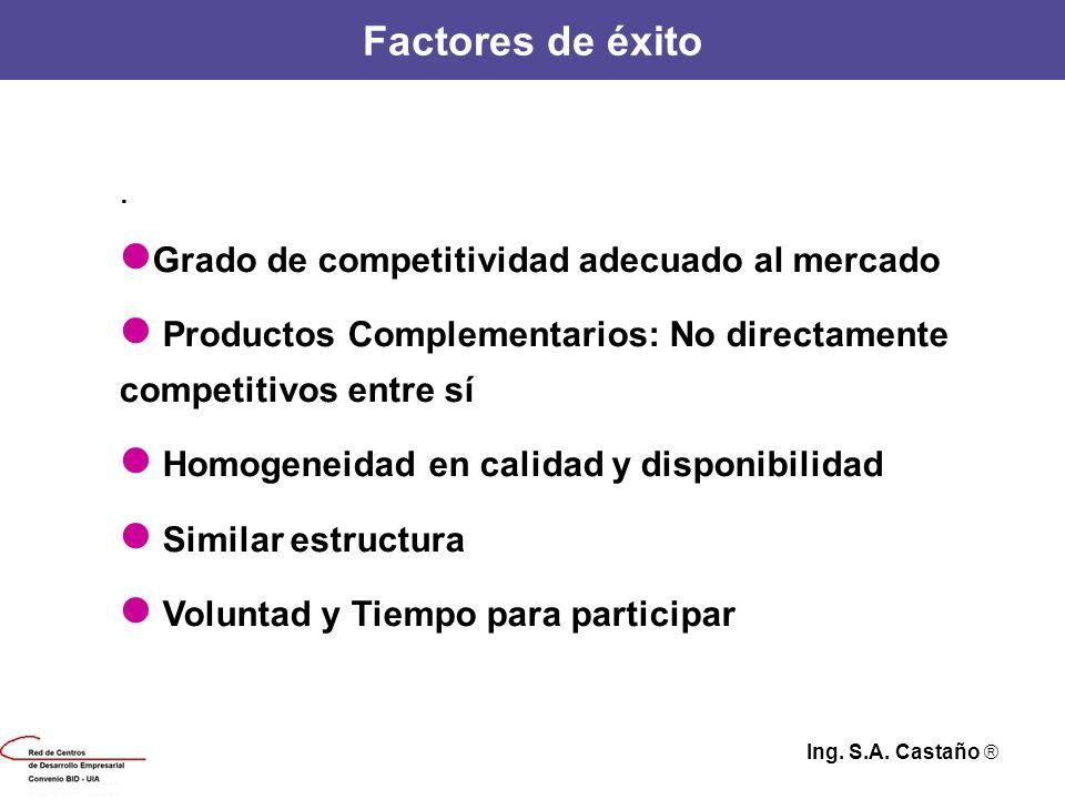 Factores de éxito. Grado de competitividad adecuado al mercado Productos Complementarios: No directamente competitivos entre sí Homogeneidad en calida