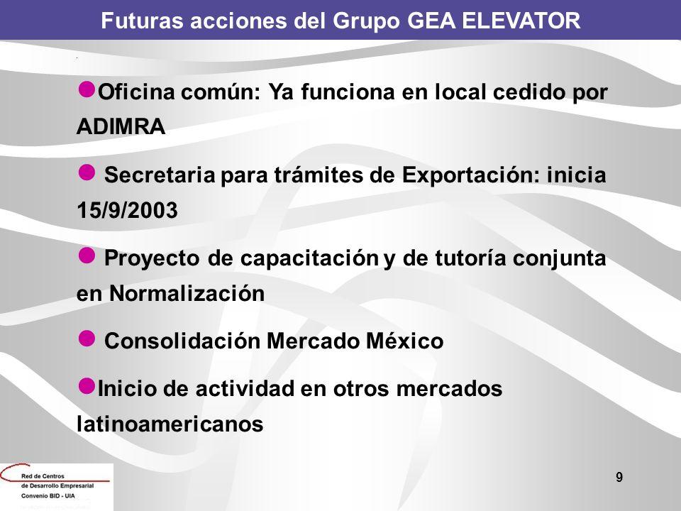 9 Futuras acciones del Grupo GEA ELEVATOR. Oficina común: Ya funciona en local cedido por ADIMRA Secretaria para trámites de Exportación: inicia 15/9/