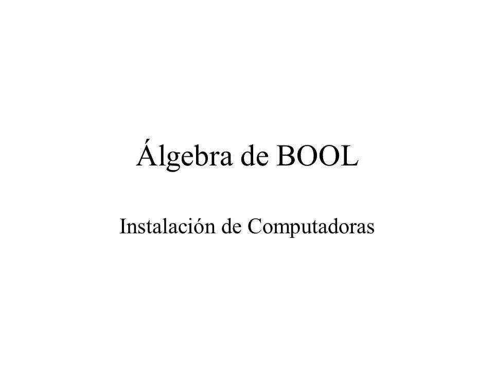 Álgebra de bool Introducción al álgebra de Boole Muchos componentes utilizados en sistemas de control, como contactores y relés, presentan dos estados claramente diferenciados (abierto o cerrado, conduce o no conduce).