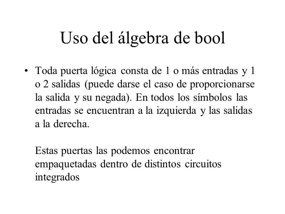 Uso del álgebra de bool los niveles de tensión que se corresponden con los niveles lógicos 1 y 0 dependen de la familia lógica empleada.