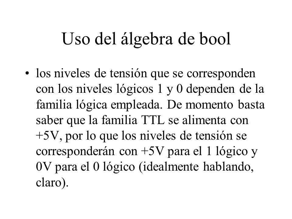 Uso del álgebra de bool La aplicación más directa de las puertas lógicas es la combinación entre dos o más de ellas para formar circuitos lógicos que responden a funciones lógicas.