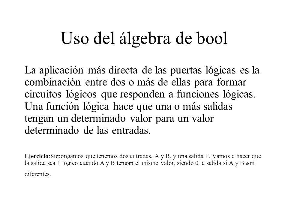 Solución Problema En primer lugar veamos los valores de A y B que hacen 1 la función: A = 1 y B = 1 A = 0 y B = 0 Es decir, podemos suponer dos funciones de respuesta para cada caso: F1 = A*B (A y B a 1 hacen F1 1) F2 = A *B (A y B a 0 hacen F2 1) La suma de estas funciones será la función lógica final que buscamos: F = F1 + F2 = (A*B)+(A *B )