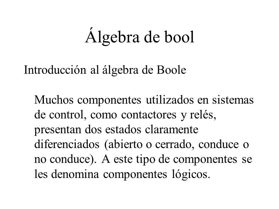 Álgebra de bool Para poder estudiar el comportamiento de estos elementos, se representan dos estados por los símbolos 1 y 0 (0 abierto, 1 cerrado).