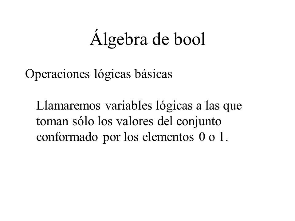 Álgebra de bool SUMA LOGICA: Denominada también operación O (OR).