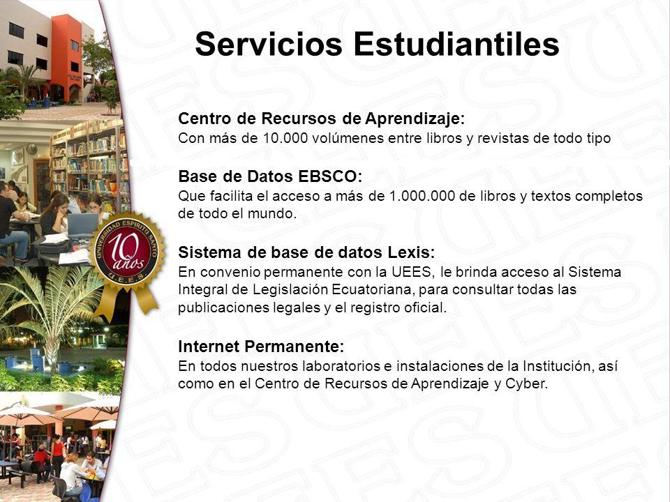 Centro de Recursos de Aprendizaje: Con más de 10.000 volúmenes entre libros y revistas de todo tipo Base de Datos EBSCO: Que facilita el acceso a más de 1.000.000 de libros y textos completos de todo el mundo.
