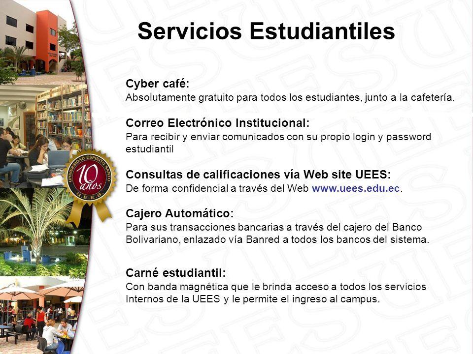 Servicios Estudiantiles Cyber café: Absolutamente gratuito para todos los estudiantes, junto a la cafetería.