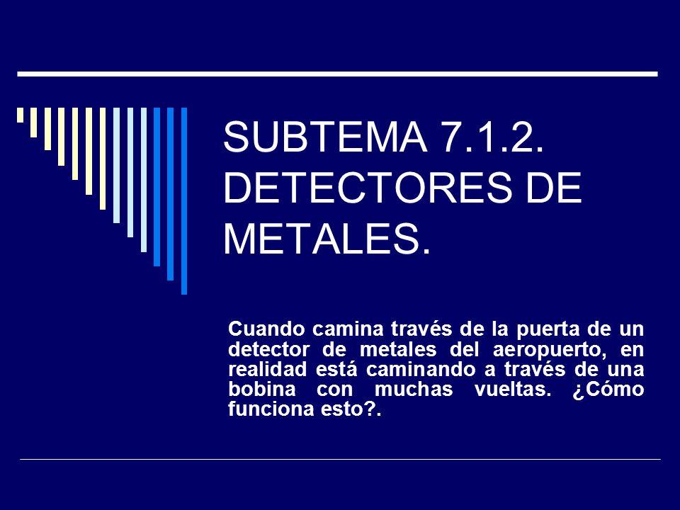 SUBTEMA 7.1.2. DETECTORES DE METALES. Cuando camina través de la puerta de un detector de metales del aeropuerto, en realidad está caminando a través