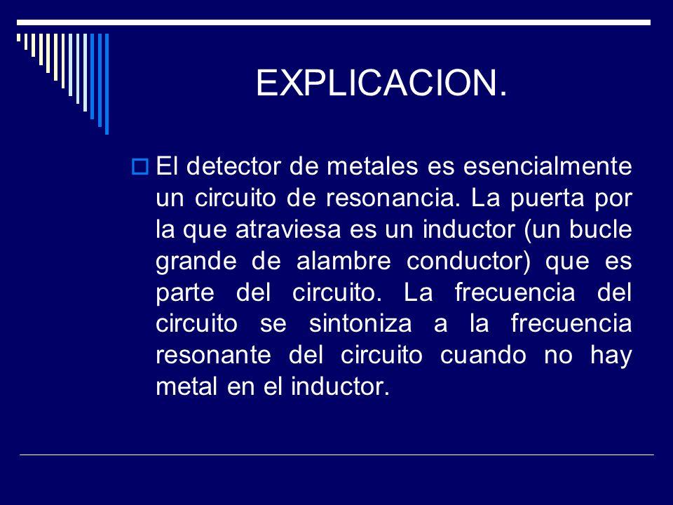 EXPLICACION. El detector de metales es esencialmente un circuito de resonancia. La puerta por la que atraviesa es un inductor (un bucle grande de alam