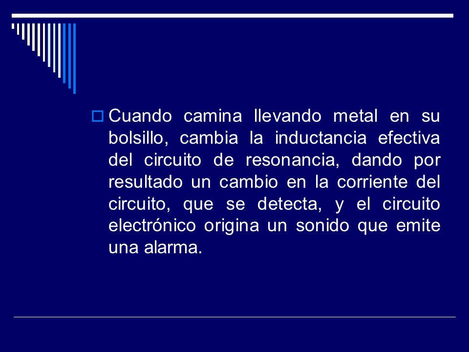 Cuando camina llevando metal en su bolsillo, cambia la inductancia efectiva del circuito de resonancia, dando por resultado un cambio en la corriente