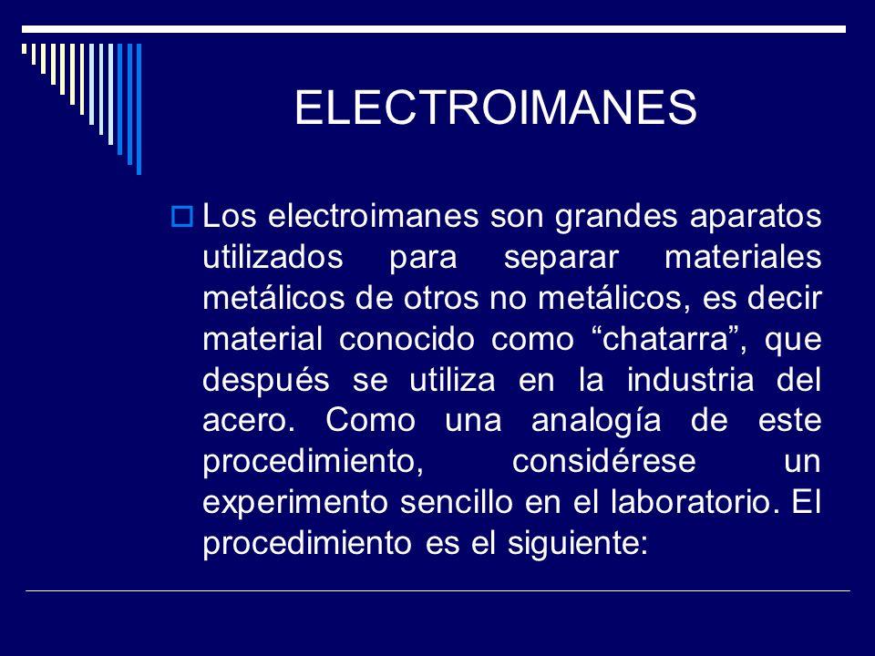 ELECTROIMANES Los electroimanes son grandes aparatos utilizados para separar materiales metálicos de otros no metálicos, es decir material conocido co