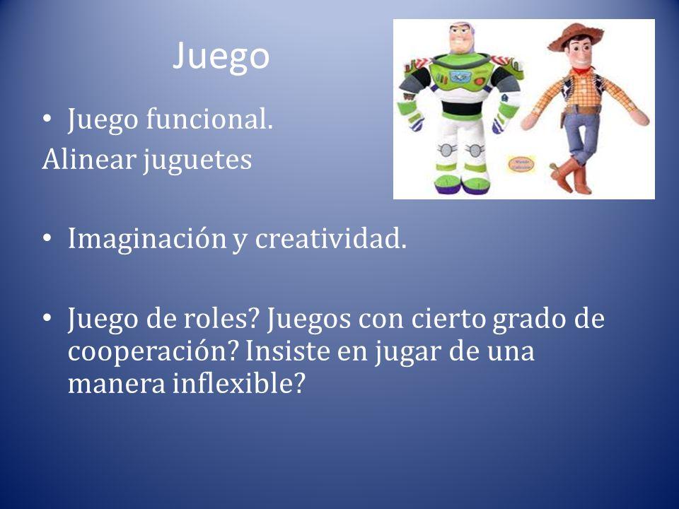 Juego Juego funcional. Alinear juguetes Imaginación y creatividad. Juego de roles? Juegos con cierto grado de cooperación? Insiste en jugar de una man