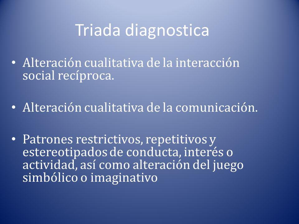 Triada diagnostica Alteración cualitativa de la interacción social recíproca. Alteración cualitativa de la comunicación. Patrones restrictivos, repeti