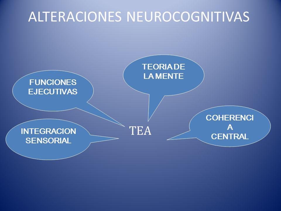 ALTERACIONES NEUROCOGNITIVAS INTEGRACION SENSORIAL FUNCIONES EJECUTIVAS COHERENCI A CENTRAL TEORIA DE LA MENTE TEA