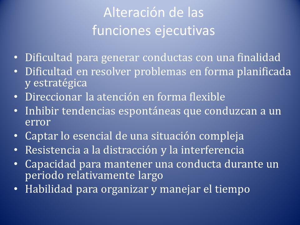 Alteración de las funciones ejecutivas Dificultad para generar conductas con una finalidad Dificultad en resolver problemas en forma planificada y est
