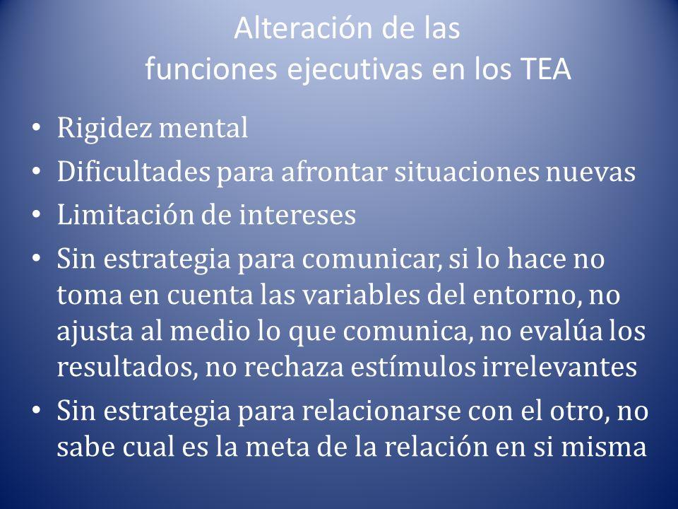 Alteración de las funciones ejecutivas en los TEA Rigidez mental Dificultades para afrontar situaciones nuevas Limitación de intereses Sin estrategia