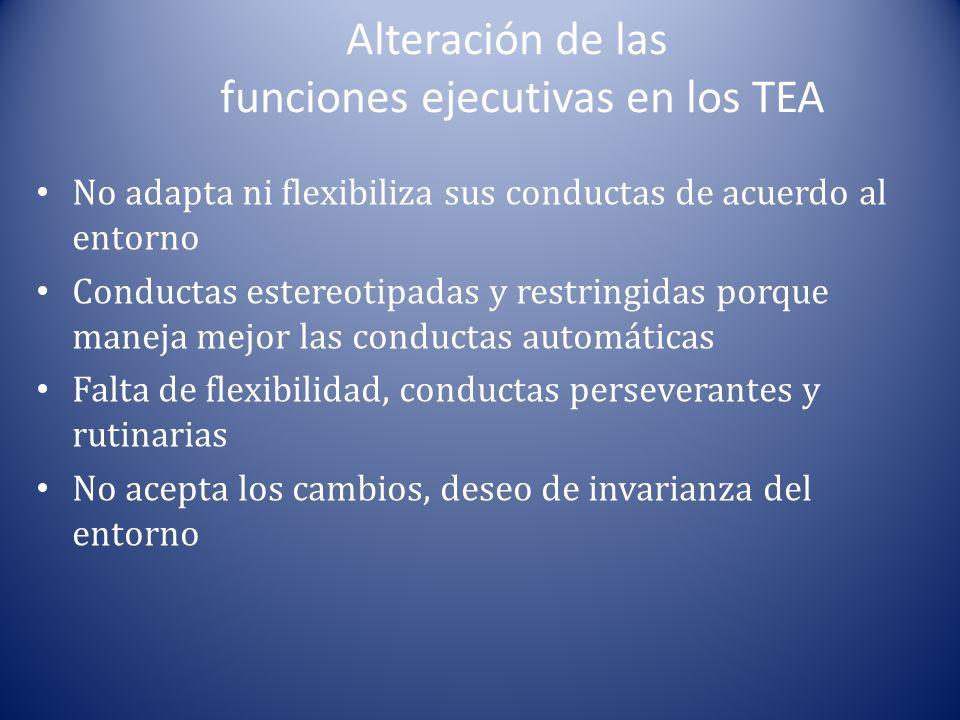 Alteración de las funciones ejecutivas en los TEA No adapta ni flexibiliza sus conductas de acuerdo al entorno Conductas estereotipadas y restringidas