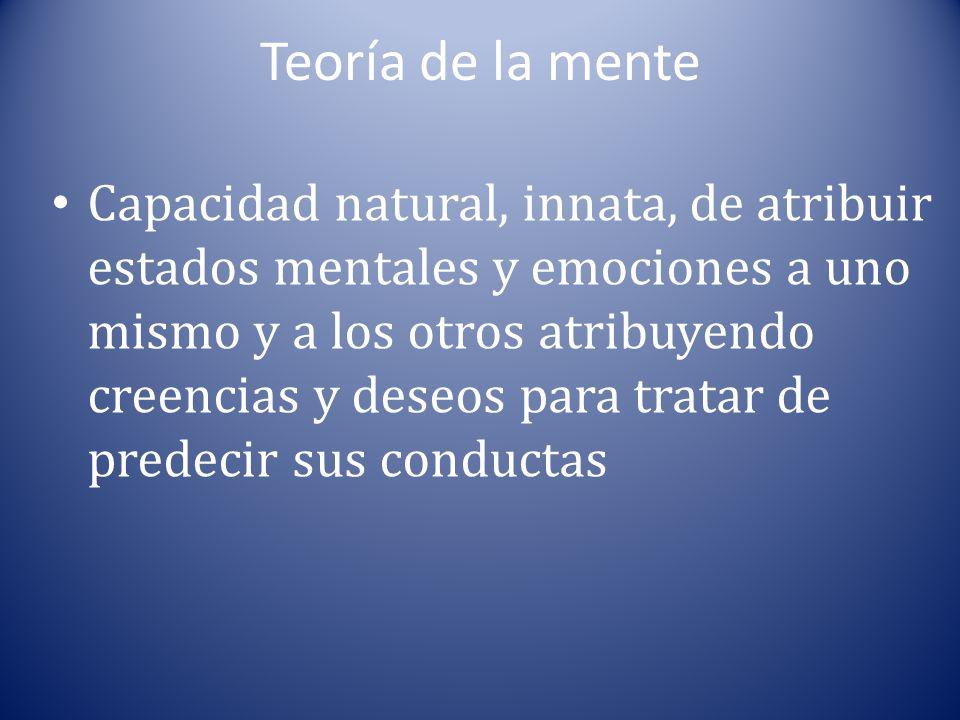 Teoría de la mente Capacidad natural, innata, de atribuir estados mentales y emociones a uno mismo y a los otros atribuyendo creencias y deseos para t
